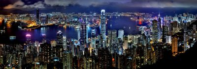 Skyline of Hong Kong; very fitting for Poker King.
